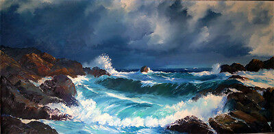 "Robert Glenn ""Laguna Beach Stormy Day"" Original Oil Seascape 24"" X 48"" - 80"