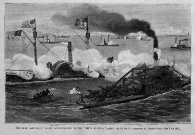 Civil War Rebel Gun-Boat Selma Surrenders To  Metacomet Nautical Steamboat
