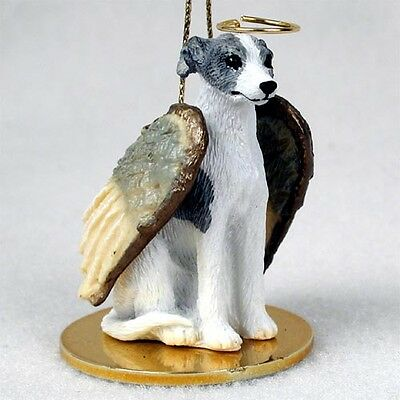WHIPPET Gray White Dog ANGEL Ornament Figurine Statue