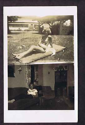 Bathing Suit Girl 1940s Pin-Up Real Photo Postcard