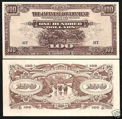 Malaya 100 Dollars M8B 1944 Buffalo Unc Jim Malaysia War Ii Money Japan Banknote