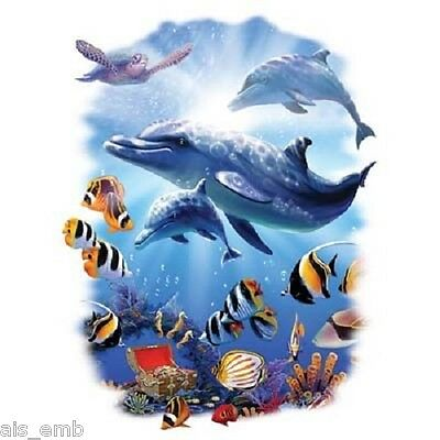 Dolphin Magic HEAT PRESS TRANSFER for T Shirt Sweatshirt Tote Quilt Fabric  #252