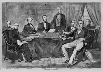 Abraham Lincoln And His Cabinet Political History Print