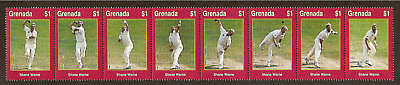 GRENADA 2000 WISDEN CRICKET SHANE WARNE CRICKETER OF CENTURY Strip of 8v MNH