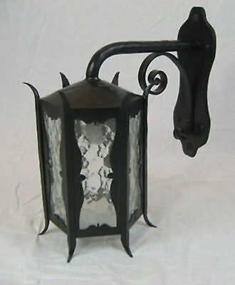 Gothic Spanish Revival wrought iron exterior light