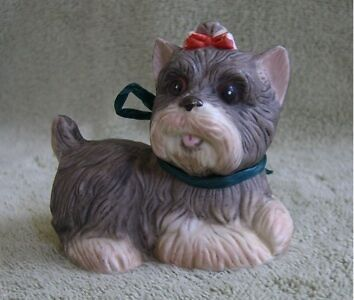 Vintage HOMCO Yorkie Yorkshire Terrier Dog Puppy Red Bow Figurine