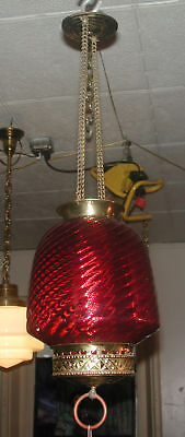 Oil Lamp Hall Fixture W/ Cranberry Shade 4073