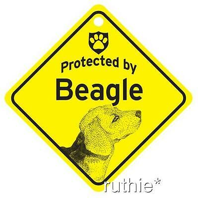 Protected by Beagle Dog Window Sign Made in USA