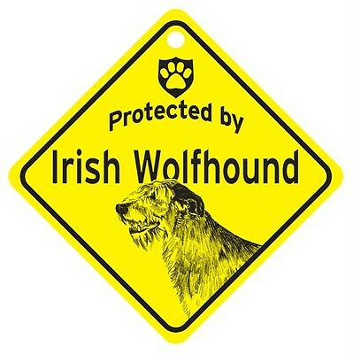 Protected by Irish Wolfhound Window Sign Made in USA