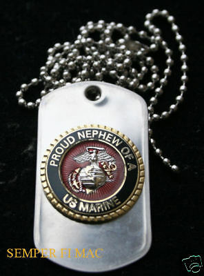 Proud Nephew Of A Us Marine Dog Tag Pin Up Aunt Uncle Cousin Niece Wm Mrdt1854