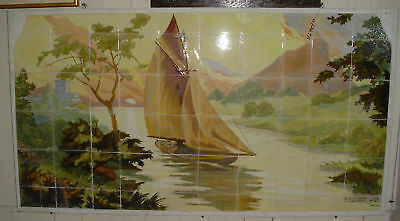 Large Wall Tile Scene Of Sunset And Boat 12698
