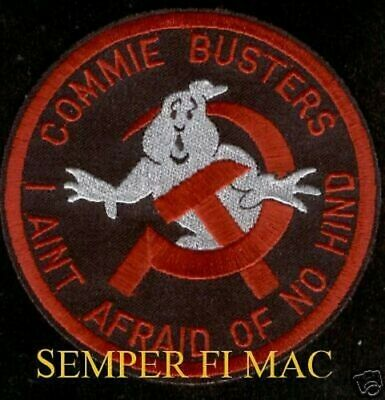 Commie Busters Russia Soviet Union Patch Ghost Busters Hind Helicopter Pin Up
