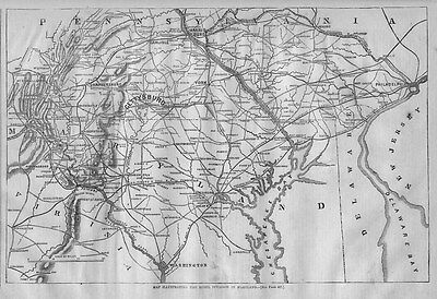 Civil War Map, Gettysburg, Rebel Invasion In Maryland