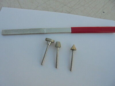 Diamond Sharpening File and mounted Diamond Wheels 4 piece set