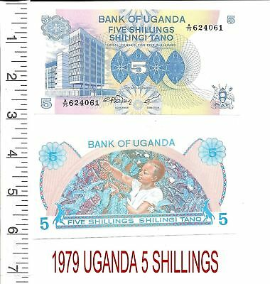 1979 Uganda 5 Shillings P-10 Uncirculated, Free U.s. Shipping!!