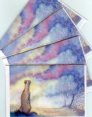 4 whippet greyhound dawn landscape dog greeting cards