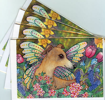 4 whippet greyhound spring fairy dog pup greeting cards