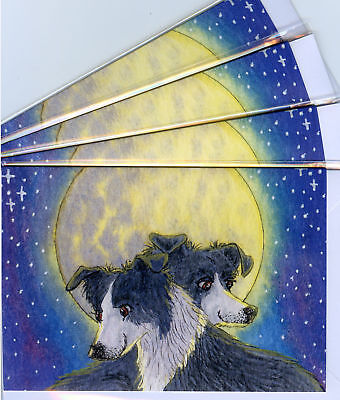 4 Border Collie moonlight love dog pup greeting cards