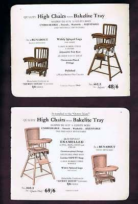 Bakelite High Chairs & Playpen 1937 Catalog Pages