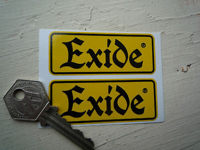 EXIDE Old Style Motorcycle Battery STICKERS 70x28mm Pr Classic Bike Restoration