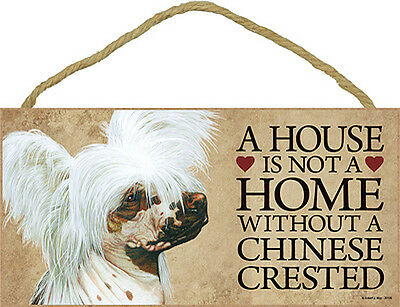 Chinese Crested Wood Dog Sign Wall Plaque 5 x 10