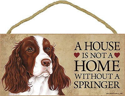 Springer Spaniel Wood Dog Sign Wall Plaque 5 x 10