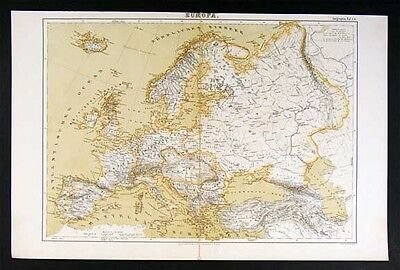 1874 Map Europe - Spain France Italy Russia Britain