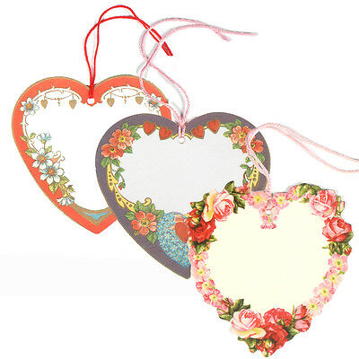 150 Heart Shaped Gift Tags with Floral Border & Strung with Coloured Cord ET0012