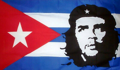 3' x 2' CHE GUEVARA on CUBA FLAG Cuban Mexico Argentina