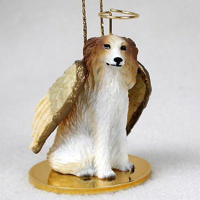 Borzoi Dog Figurine Angel Statue Hand Painted