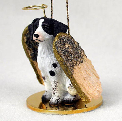 Brittany Dog Figurine Angel Statue Hand Painted Liver & White