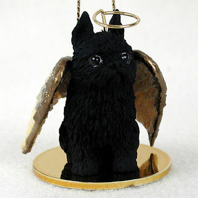 Brussels Griffon Dog Figurine Angel Statue Hand Painted Black
