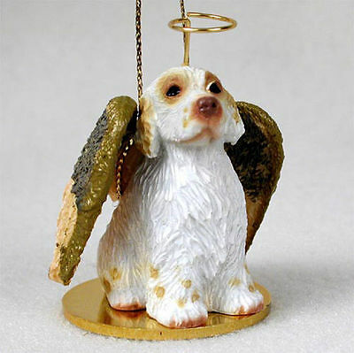 Clumber Spaniel Dog Figurine Angel Statue Hand Painted