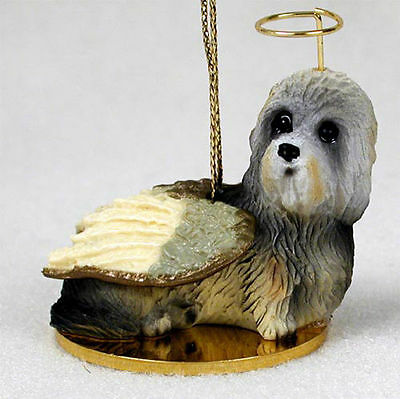 Dandie Dinmont Dog Figurine Angel Statue Hand Painted