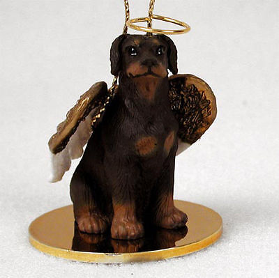 Doberman Pinscher Dog Figurine Angel Statue Hand Painted Red Uncrop