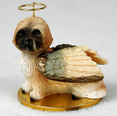 Lhasa Apso Ornament Angel Figurine Hand Painted Brown Sport Cut