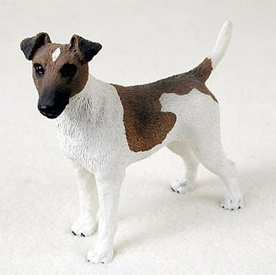 Fox Terrier Hand Painted Dog Figurine Statue Brown