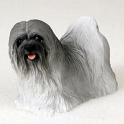 Lhasa Apso Hand Painted Dog Figurine Statue Gray