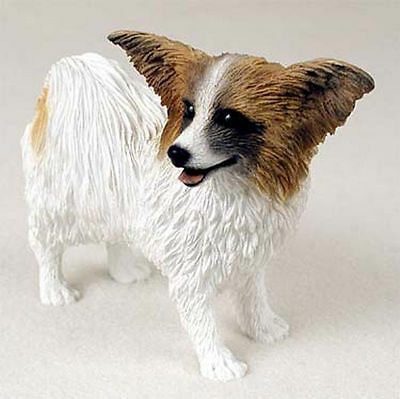 Papillon Hand Painted Dog Figurine Statue Brown