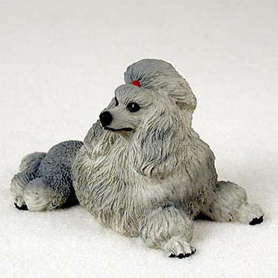 Poodle Hand Painted Dog Figurine Statue Gray