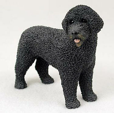 Portuguese Waterdog Hand Painted Dog Figurine Statue