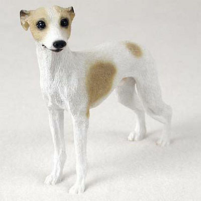 Whippet Hand Painted Dog Figurine Statue Tan & White