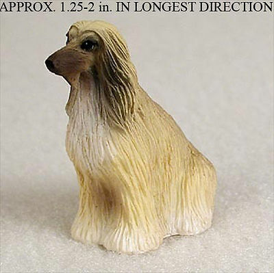 Afghan Hound Mini Resin Dog Figurine Statue Hand Painted Tan/White