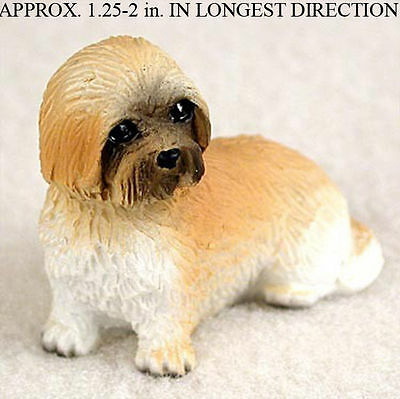 Lhasa Apso Mini Resin Dog Figurine Statue Hand Painted Brown Puppy Cut