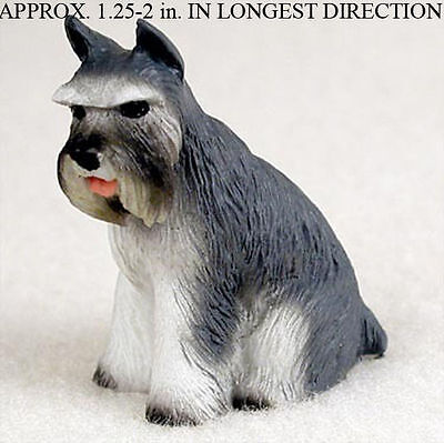 Schnauzer Mini Resin Dog Figurine Statue Hand Painted Gray