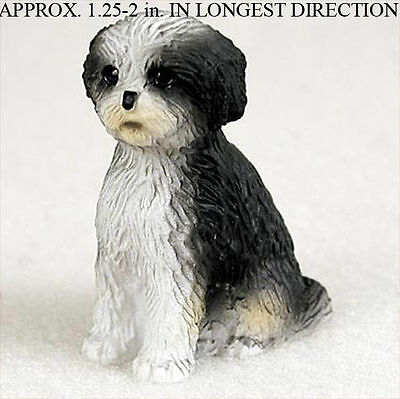 Shih Tzu Mini Resin Dog Figurine Black/White Puppy Cut