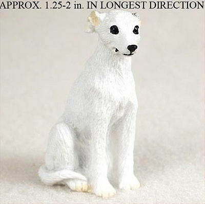 Whippet Mini Resin Dog Figurine Statue Hand Painted White