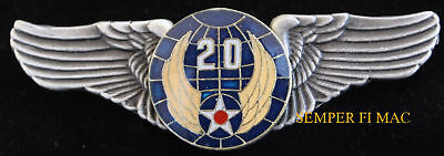 20TH US AIR FORCE ARMY AIR CORPS LARGE XL WING PIN  WOW