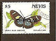 BUTTERFLY Heliconius Sara NEVIS OFFICIAL $5 STAMP Used