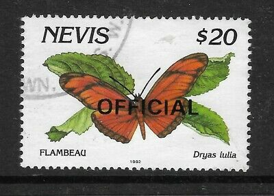BUTTERFLY Dryas julia NEVIS OFFICIAL $20 STAMP F.U.